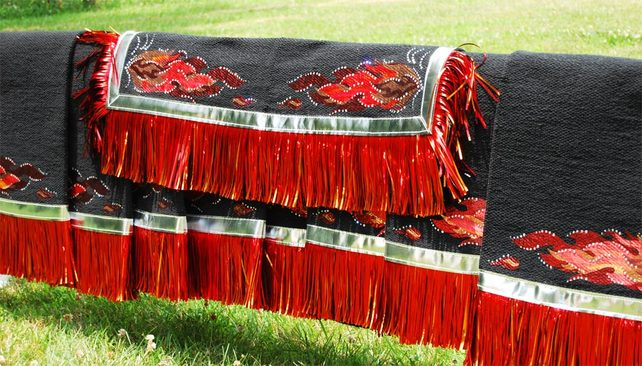 The Diablo Ladies Equestrian Drill Team - Fringed Saddle Blankets by Hitch-N-Stitch Custom Western Show Apparel