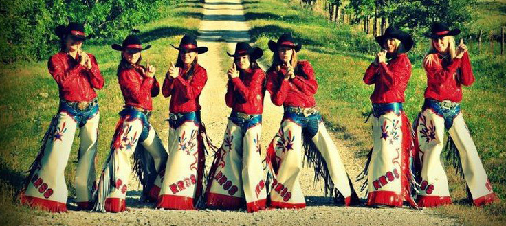 Red River Shooting Stars Drill Team in their Western Rodeo Chaps by Hitch-N-Stitch