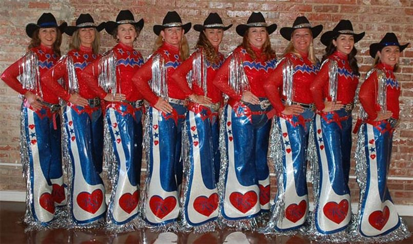 The Rodeo Sweethearts in their western chaps by Hitch-N-Stitch