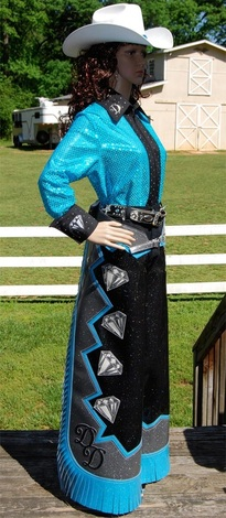 Diamond Dust Drill Team - Western Shirt and Show Chaps by Hitch-N-Stitch Custom Show Apparel