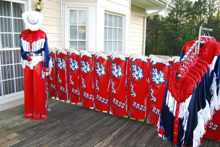 Red River Shooting Stars Equestrian Drill Team - Western Chaps & Fringed Western Shirts by Hitch-N-Stitch Customer Show Apparel
